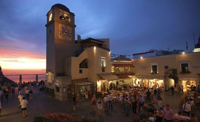 """Capri Island, the famous square """"La Piazzetta di Capri"""" great place where to have a drink or Aperitivo"""