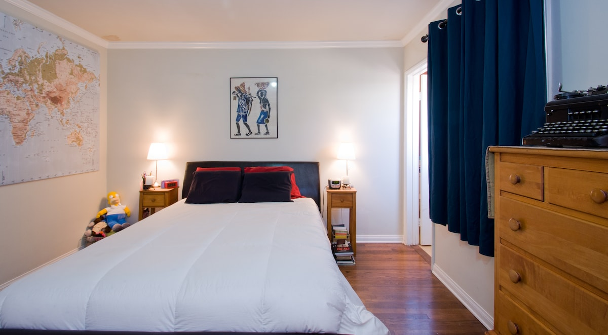 This would be your bedroom. It has a queen size memory foam mattress, a walk-in closet and a private bathroom.