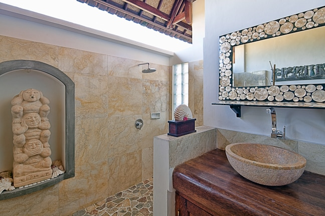 """The outdoor """"Marble Mundi"""" with hot shower and western toilet"""