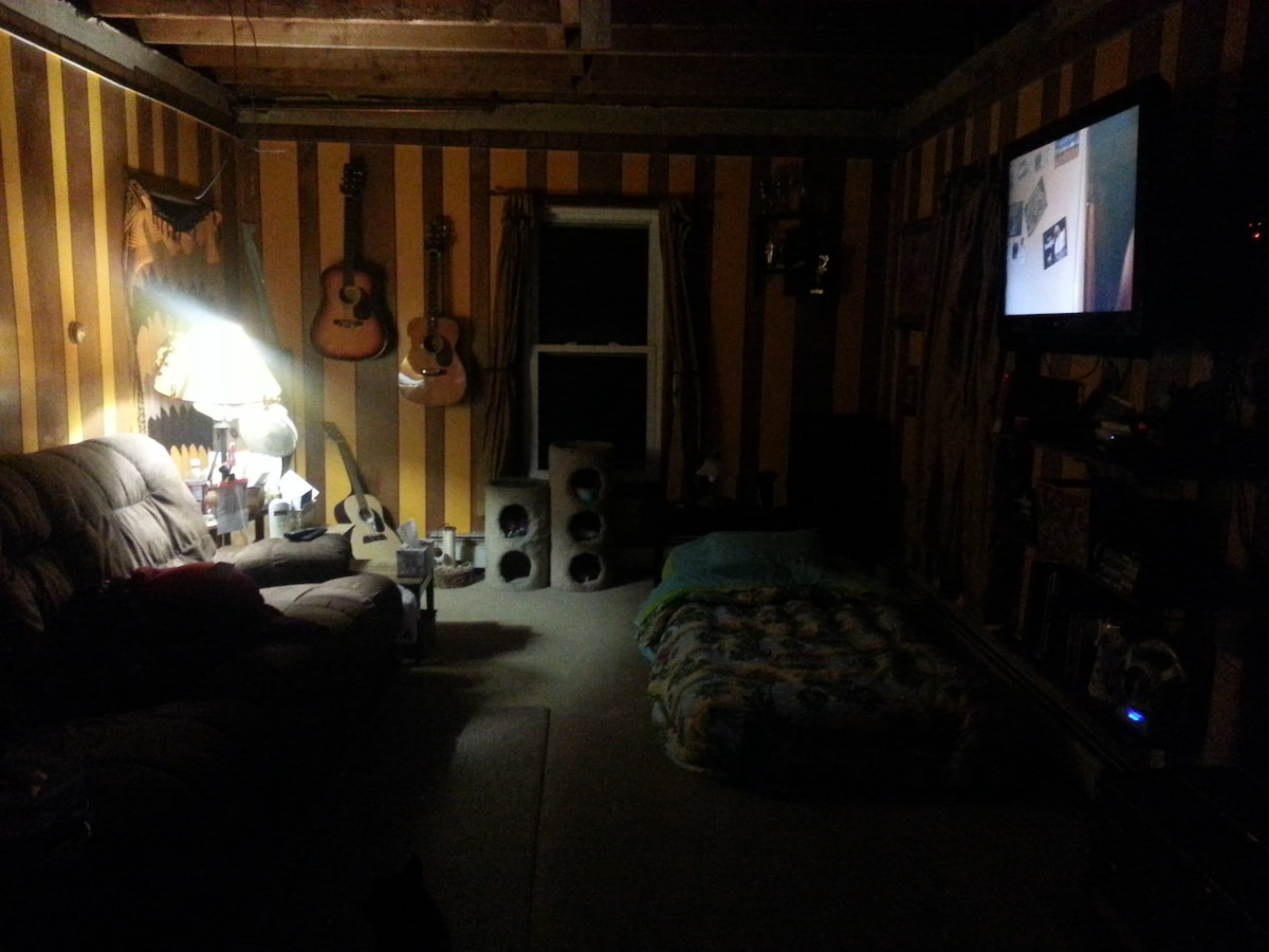 Here is a closer picture of where I set the bed(s) up for guests. Click on the picture for a better view; it's kind of dark because I didn't use the flash to take the photo.