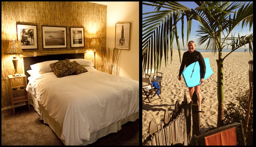 Bamboo decor bedroom with deluxe bedding and A guest retuning back from a morning surf  standing under our palm tree on our beach.