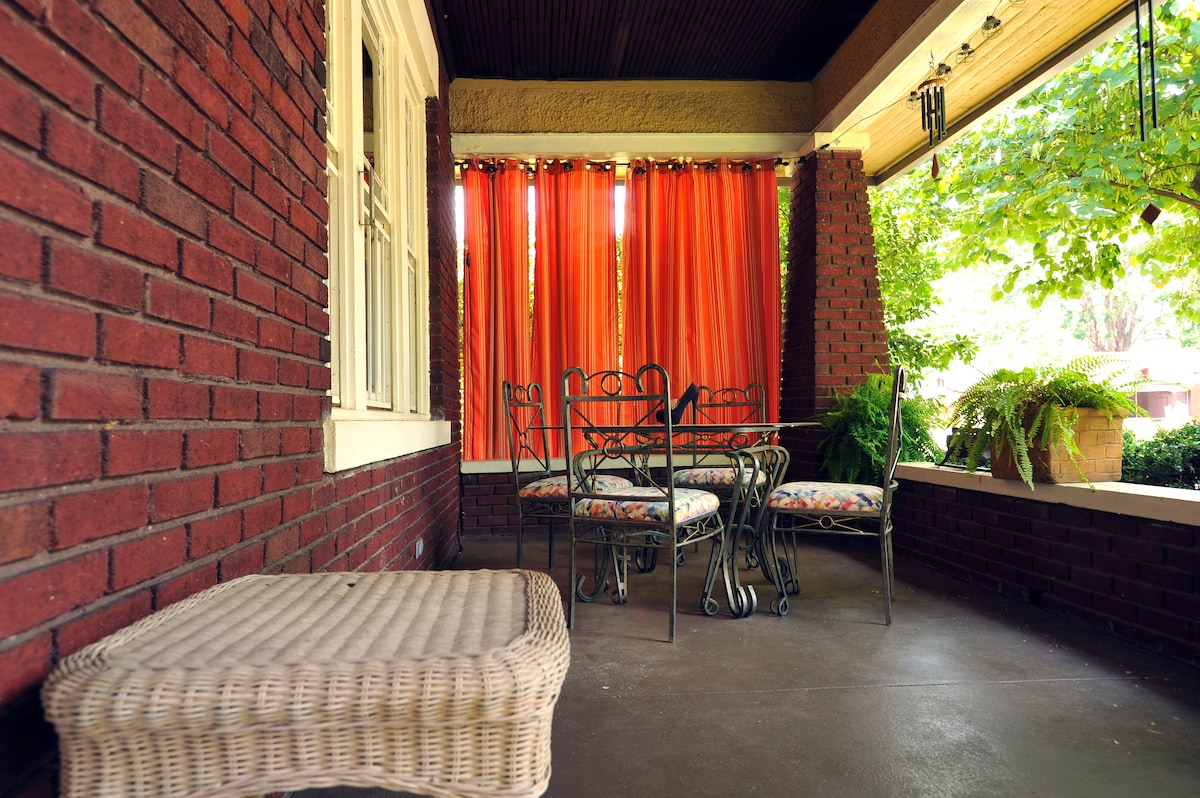 When it's really warm, the curtains shade the front porch in the afternoon.