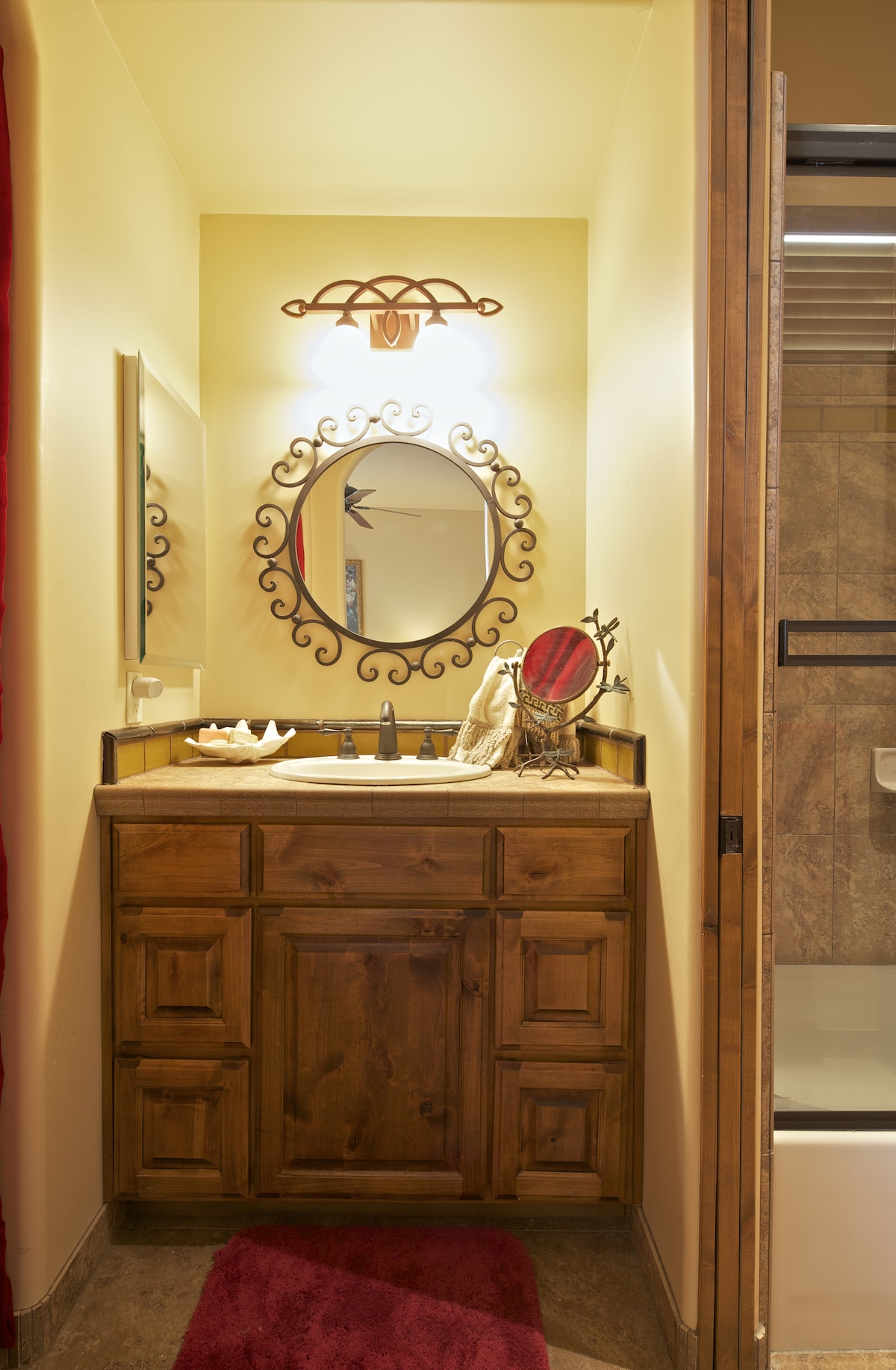 Private sink and vanity with attached bathroom.  All yours!
