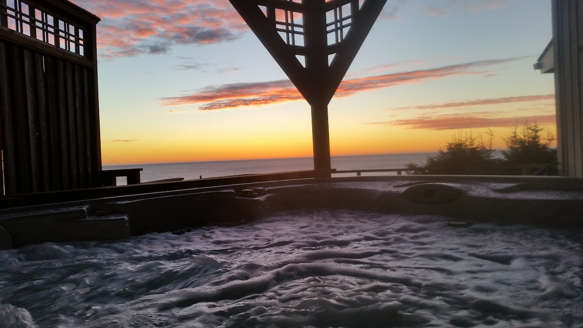 Bubbly hot and no better spot to watch the sun setting into the ocean