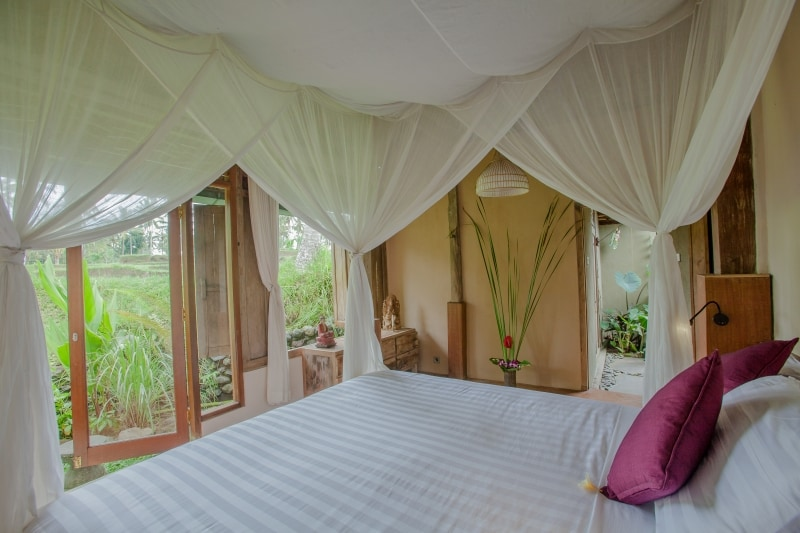 Bedroom overlooking the rice fields