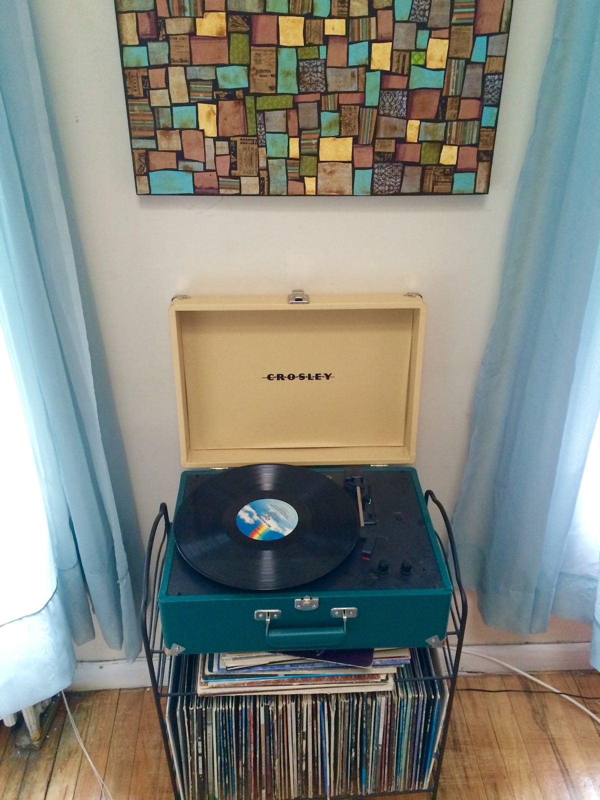 Record player with great collection of vintage LPs