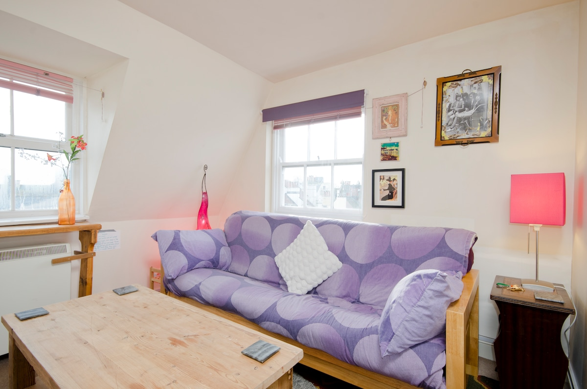 The Living Room: Sofa turns into comfy double bed