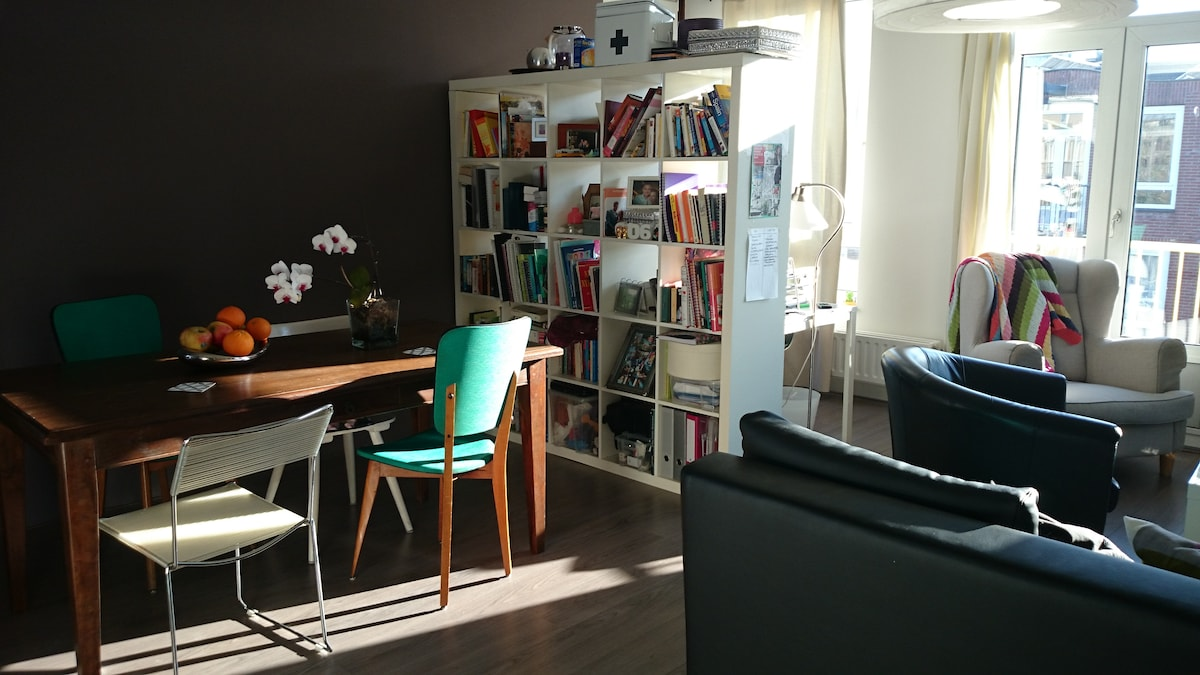 Sunny apt with balcony in centre