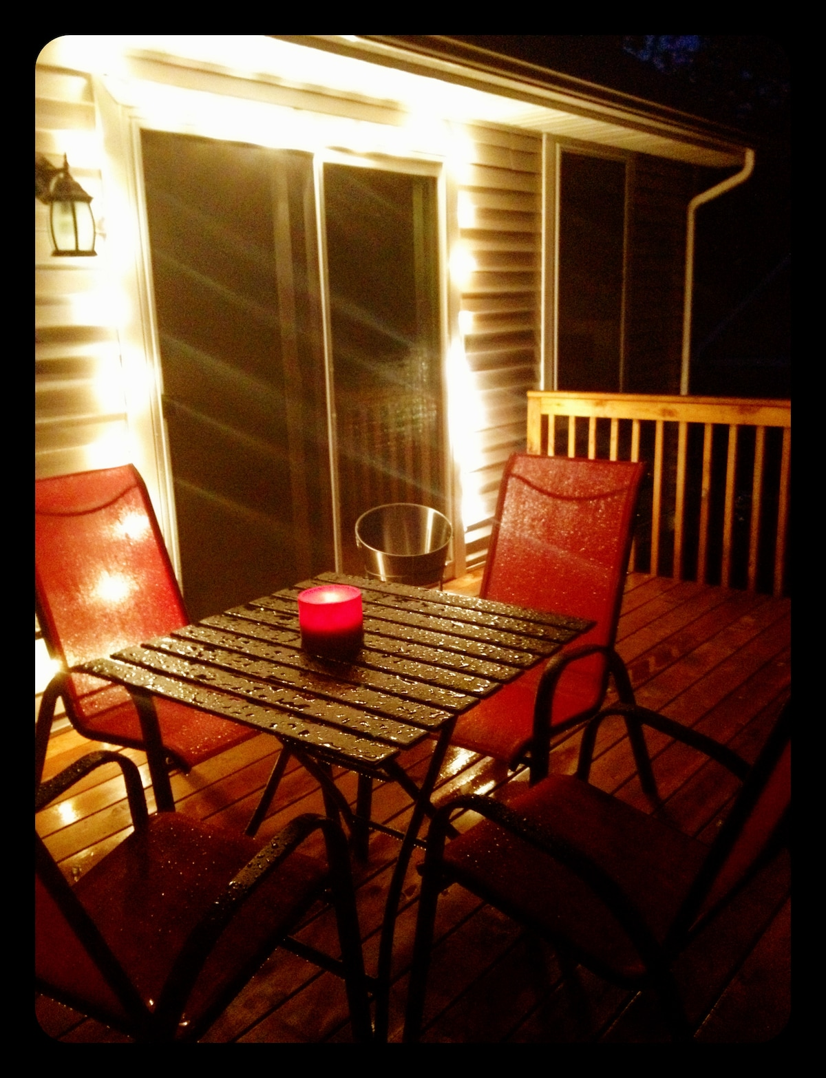 Back Deck with Grill, Tiki Torches, and Firepit.