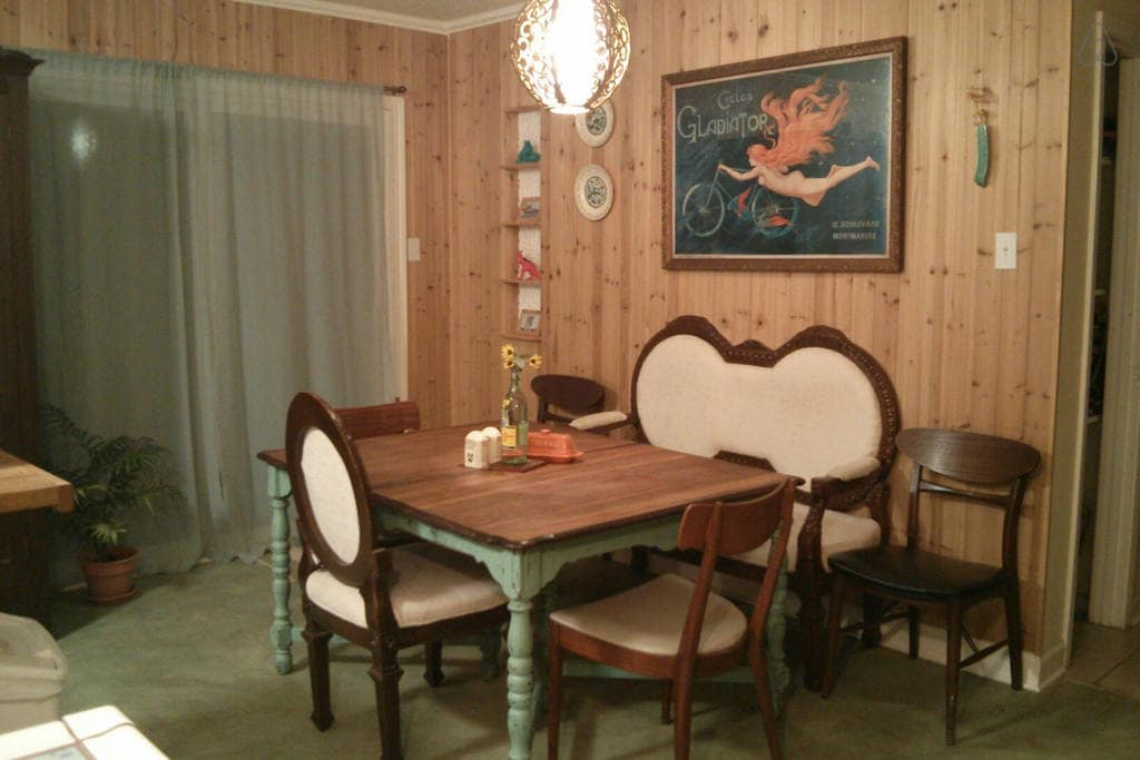 Farmhouse table and mismatched chairs