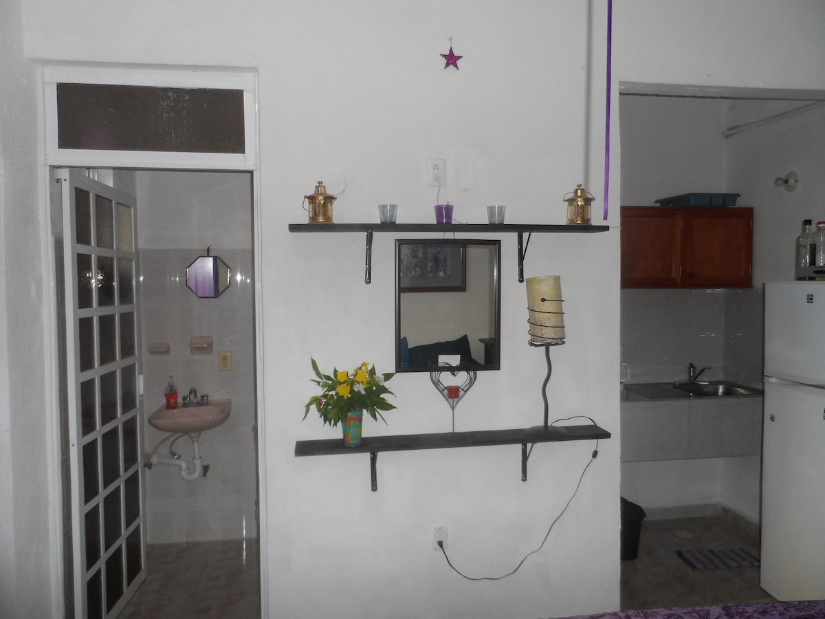 Bathroom and view to kitchen with fridge and freezer