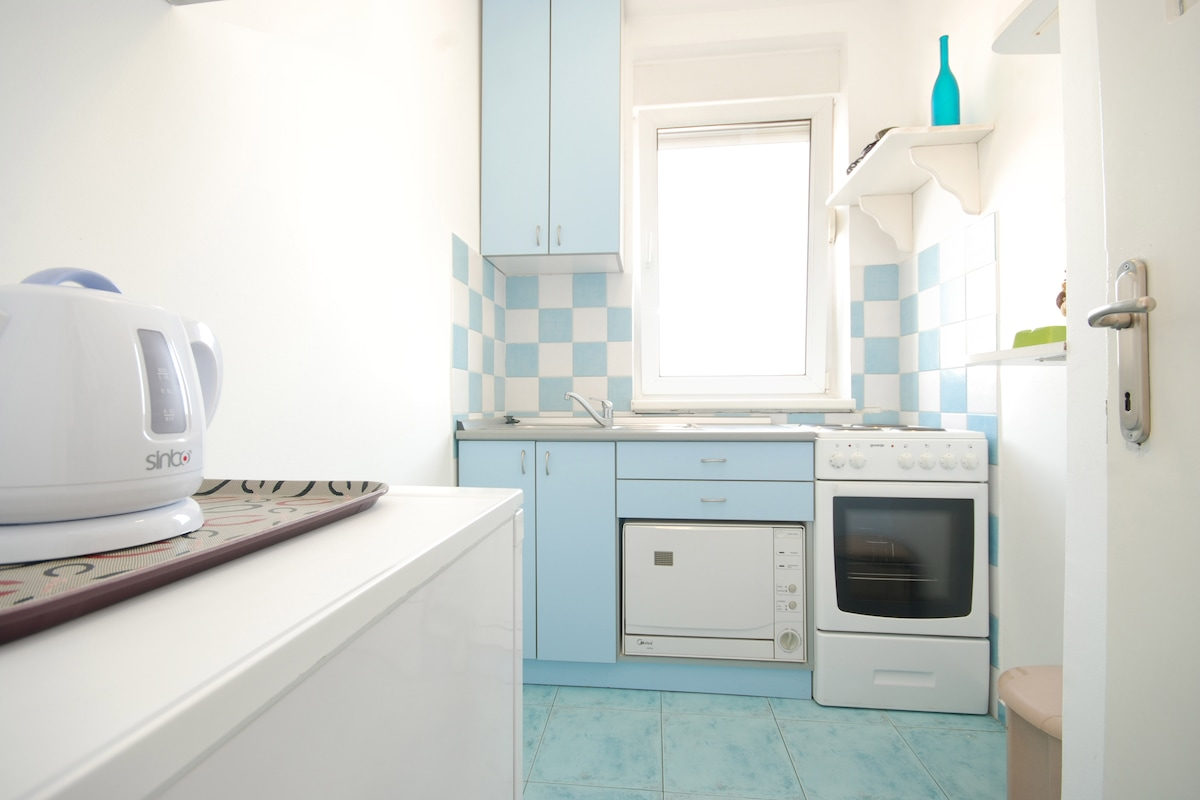 Kitchen has everything that you need during your stay. Apartment is yours, enjoy in your meal...