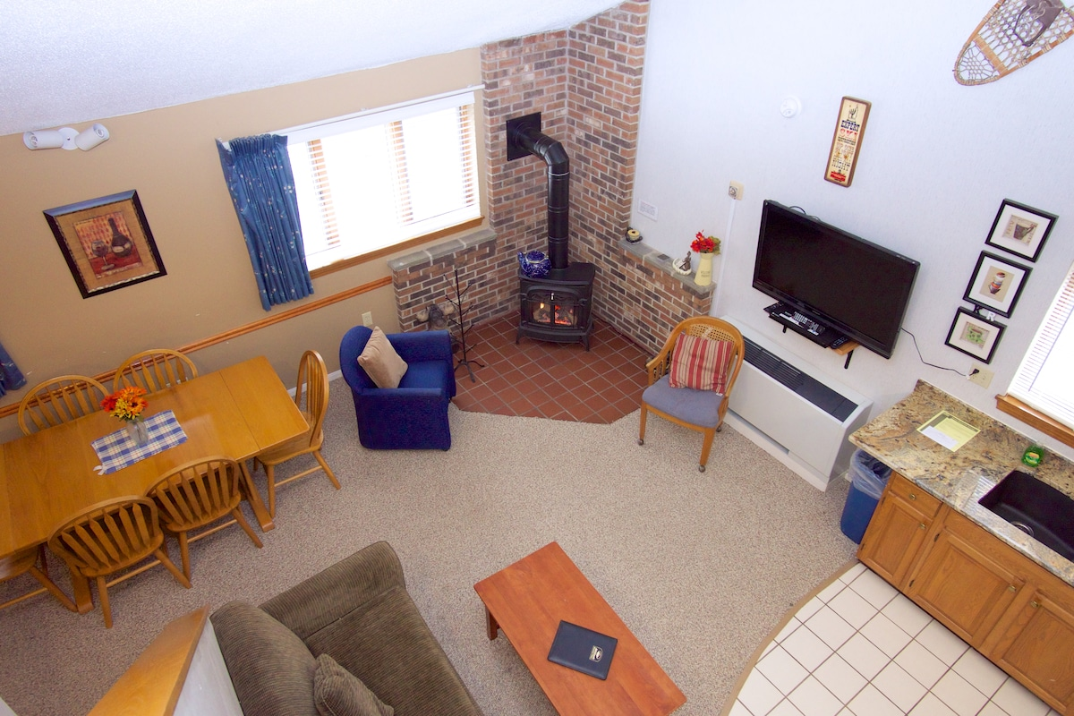 Aerial of open concept living area with loft bedroom.  Great gas stove to keep you warm and cozy.