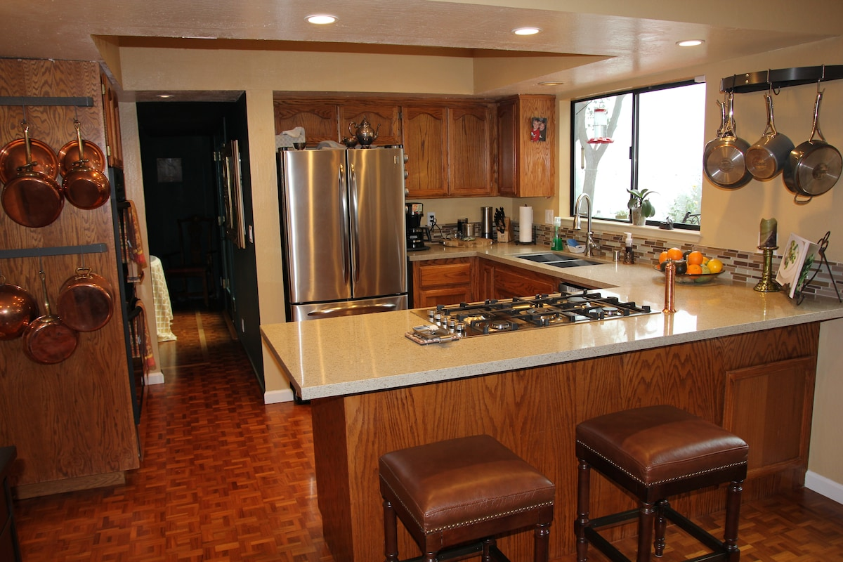 Our kitchen is ample and outfitted for a chef.