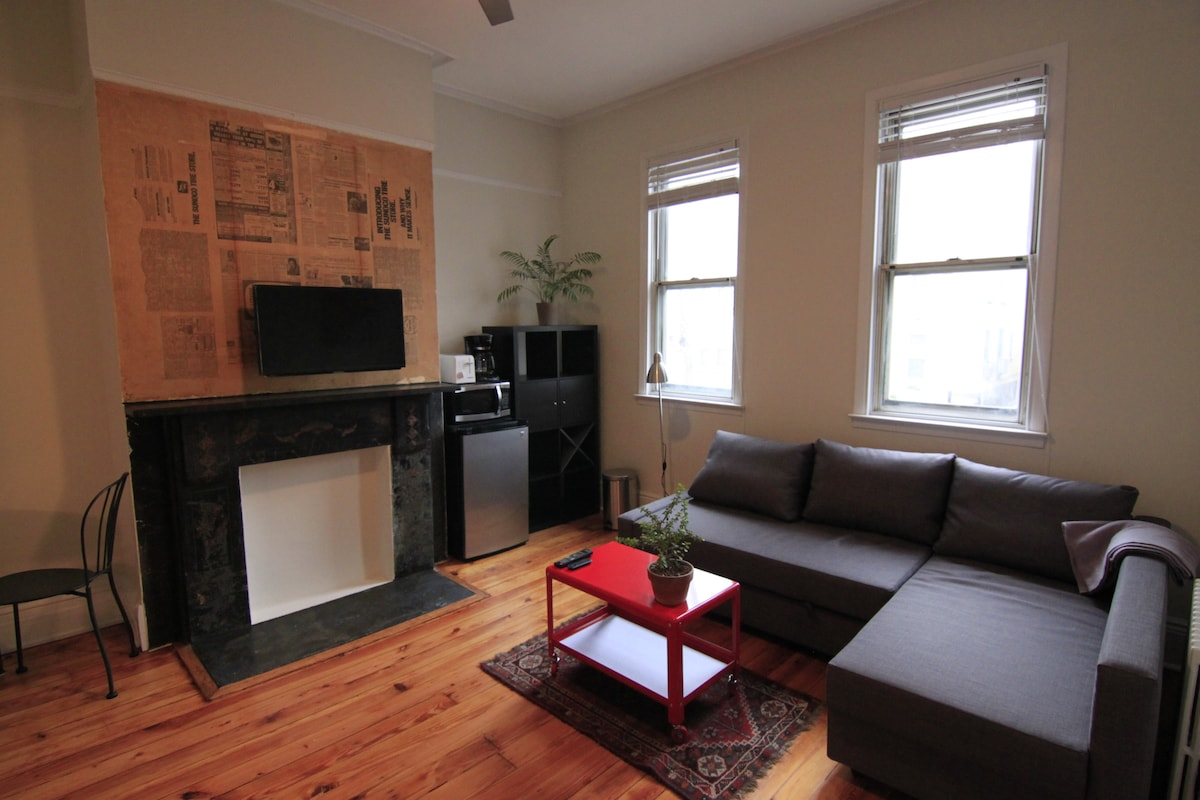 Large, sunny, private studio Apt 2F