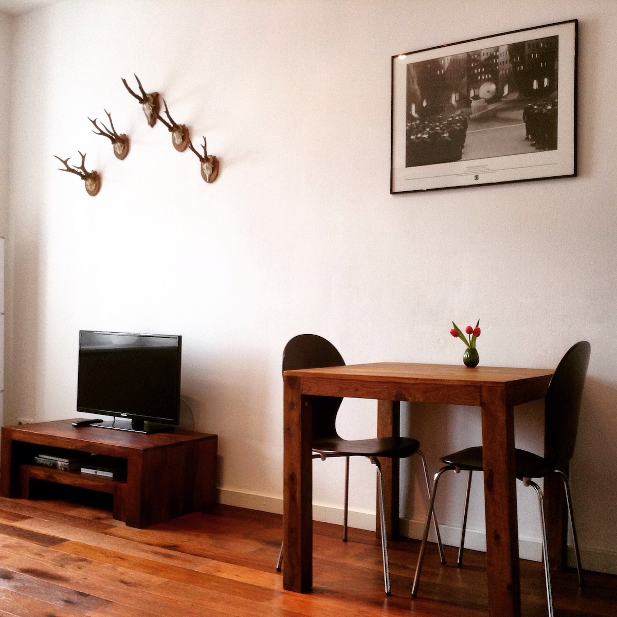 Closer look of the wooden furniture in the living room