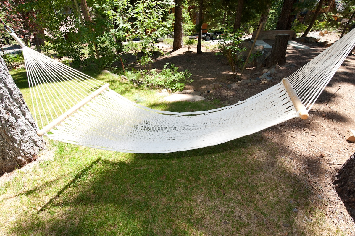 What's a relaxing vacation without a hammock in the middle of a garden of soaring pine trees!