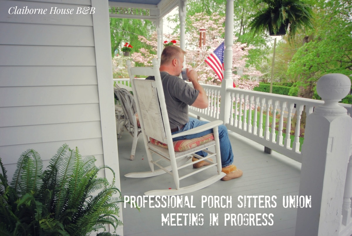 Spend some time on the porch before walking to the Harvester Performance Center or dinner