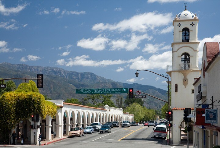 Ojai downtown on route to Charming East End Ojai weekend rental.