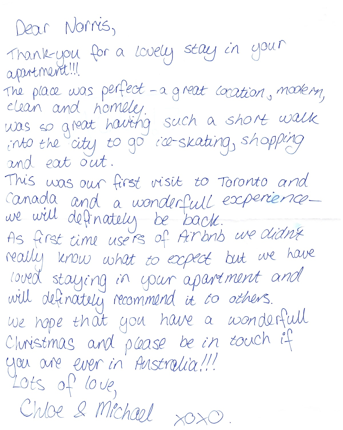 A letter from a guest. :)