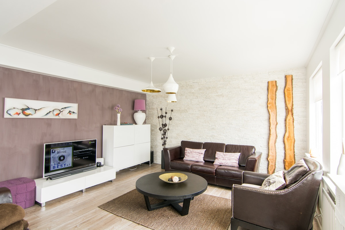 Living room with High end smart TV and stereo system