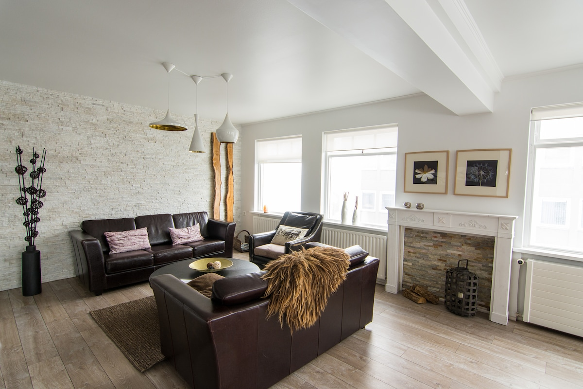 Large living area in a warm decor style