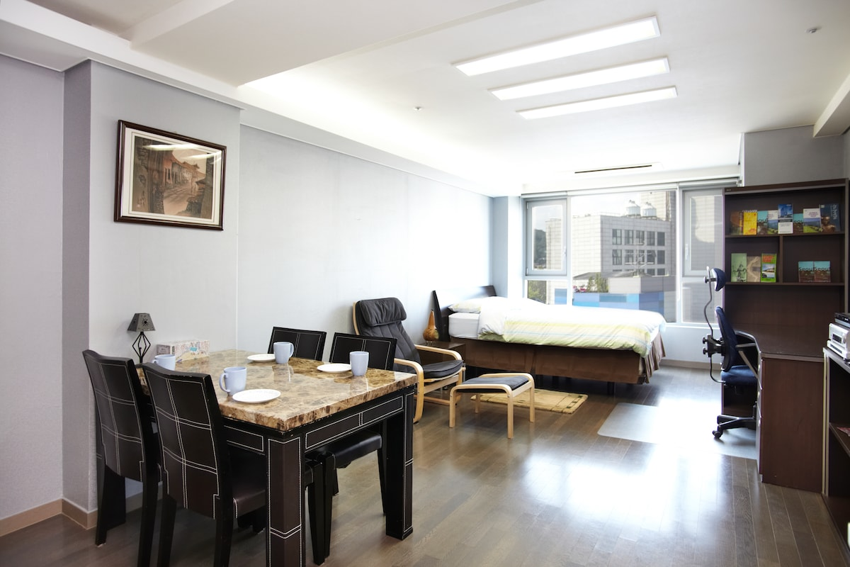Beautiful studio apartment in the cultural centre of Seoul, overlooking Sajik Park. 5 and 7 minutes from Gyeonbukgoong and Gwangwhamun Station on foot.