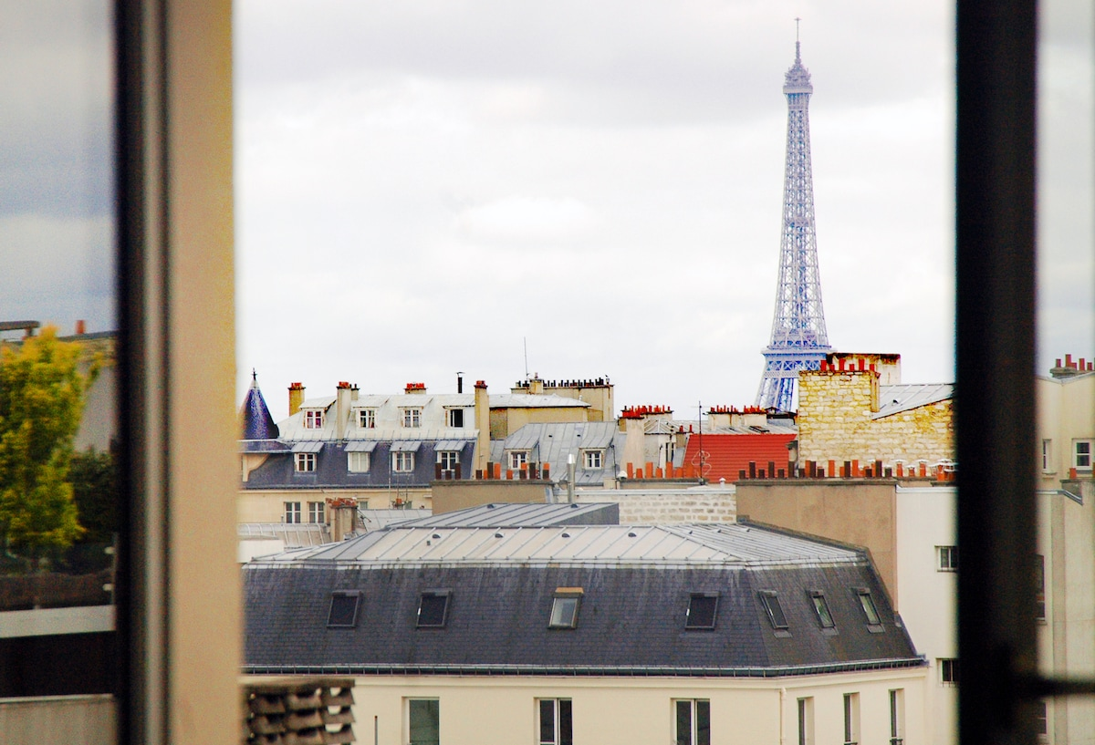 Nice flat with view on Eiffel Tower