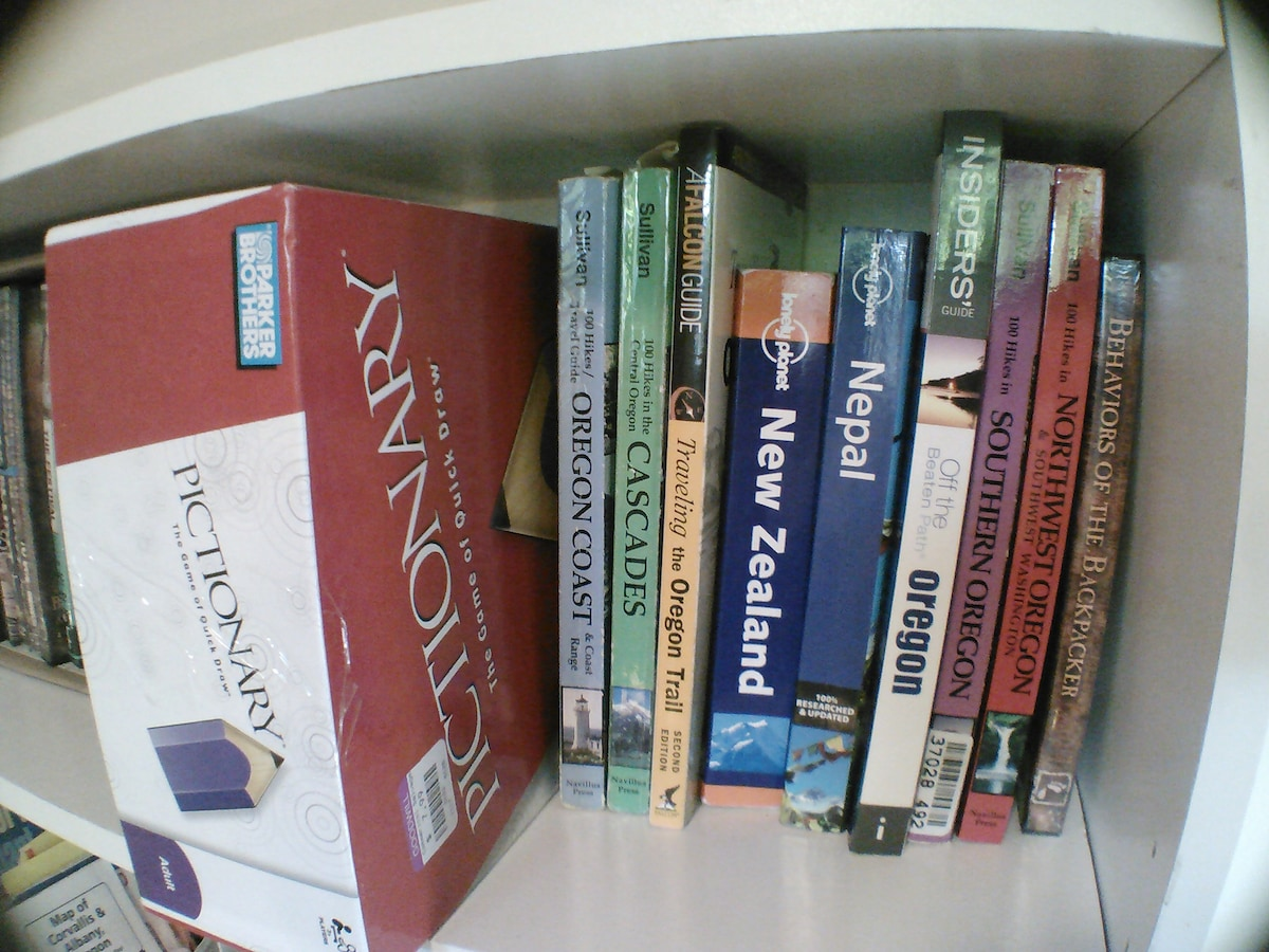 Hiking and travel book collection.