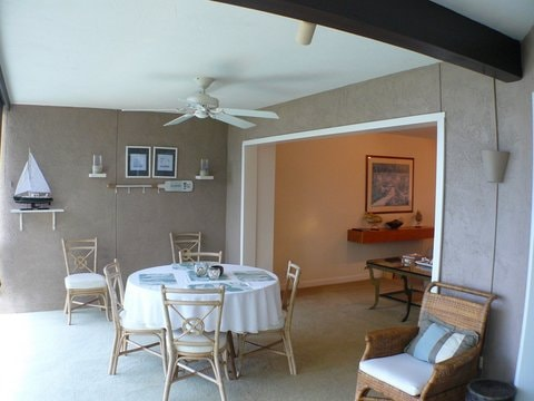 This is the lanai where you can enjoy the glorious sunrises and sunsets over a cup of Kona coffee