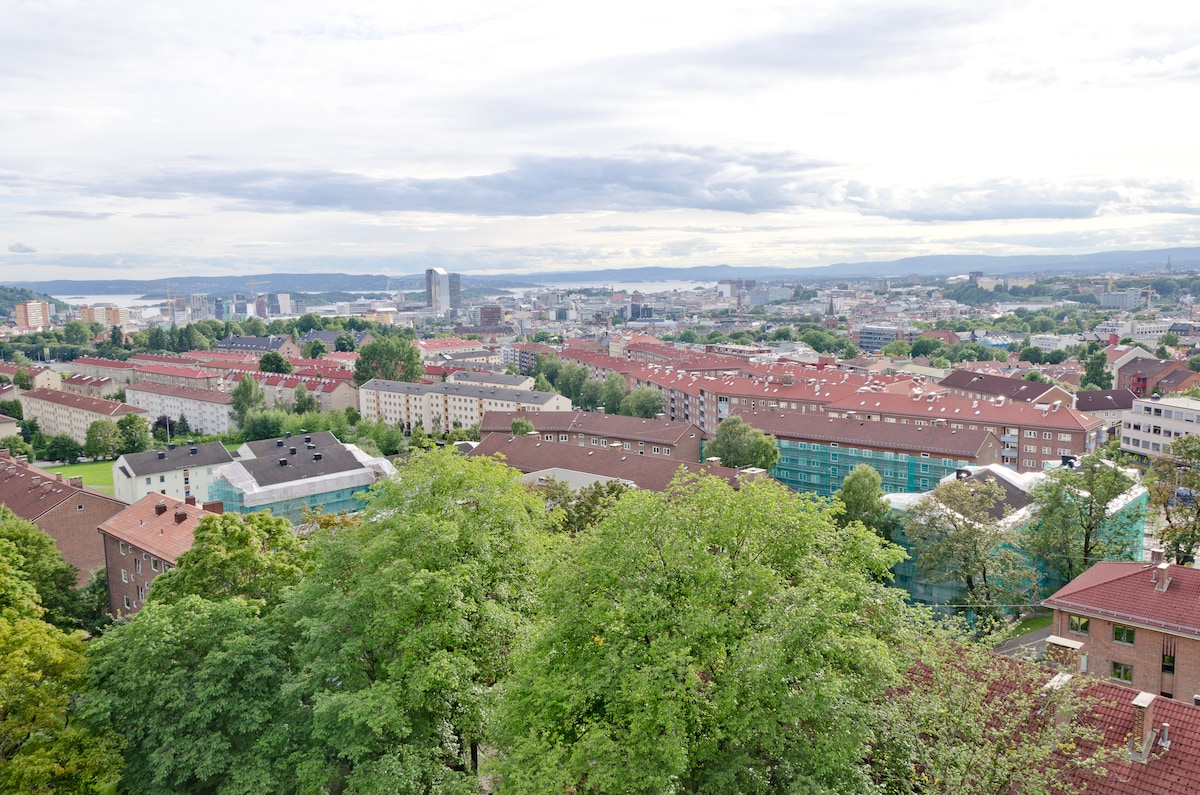 Do you want to see this with your own eyes? It's like a bird's eye view of Oslo. If it's not close enough you'll find a pair of binoculars in the apartment.