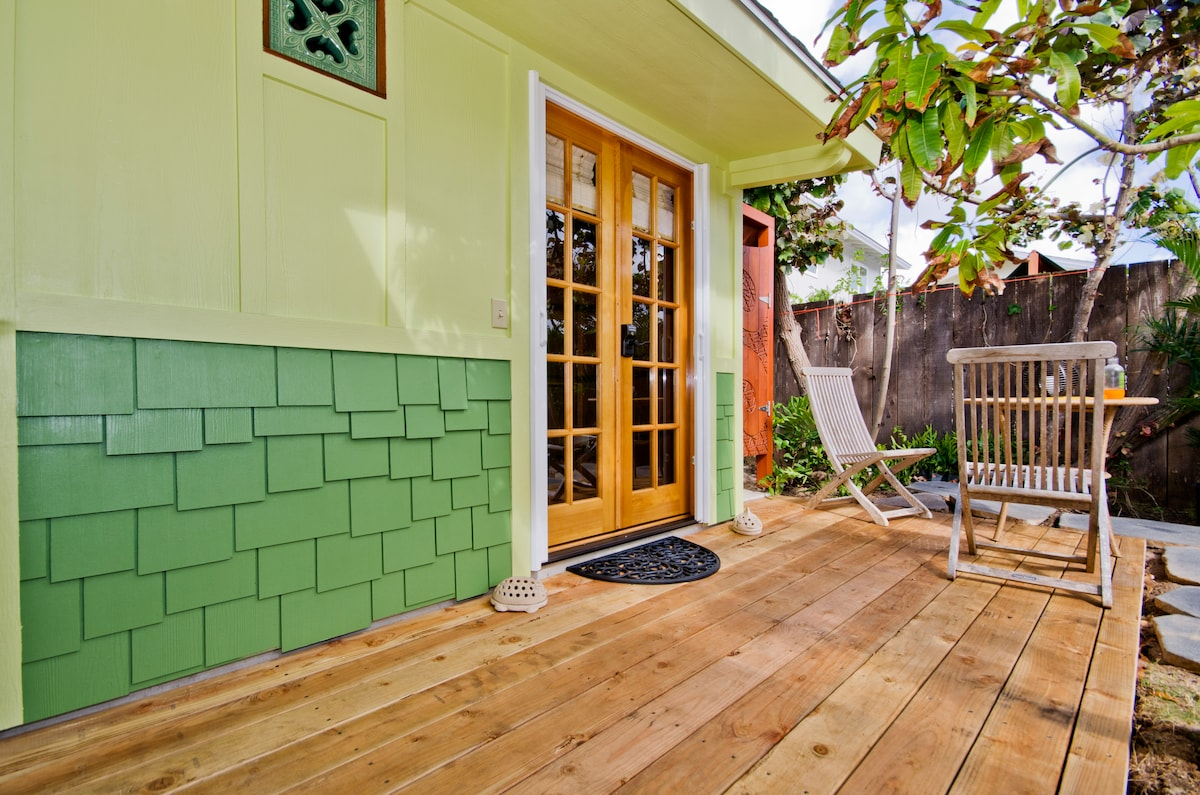 The front deck of the Coconut.  Wood French doors!