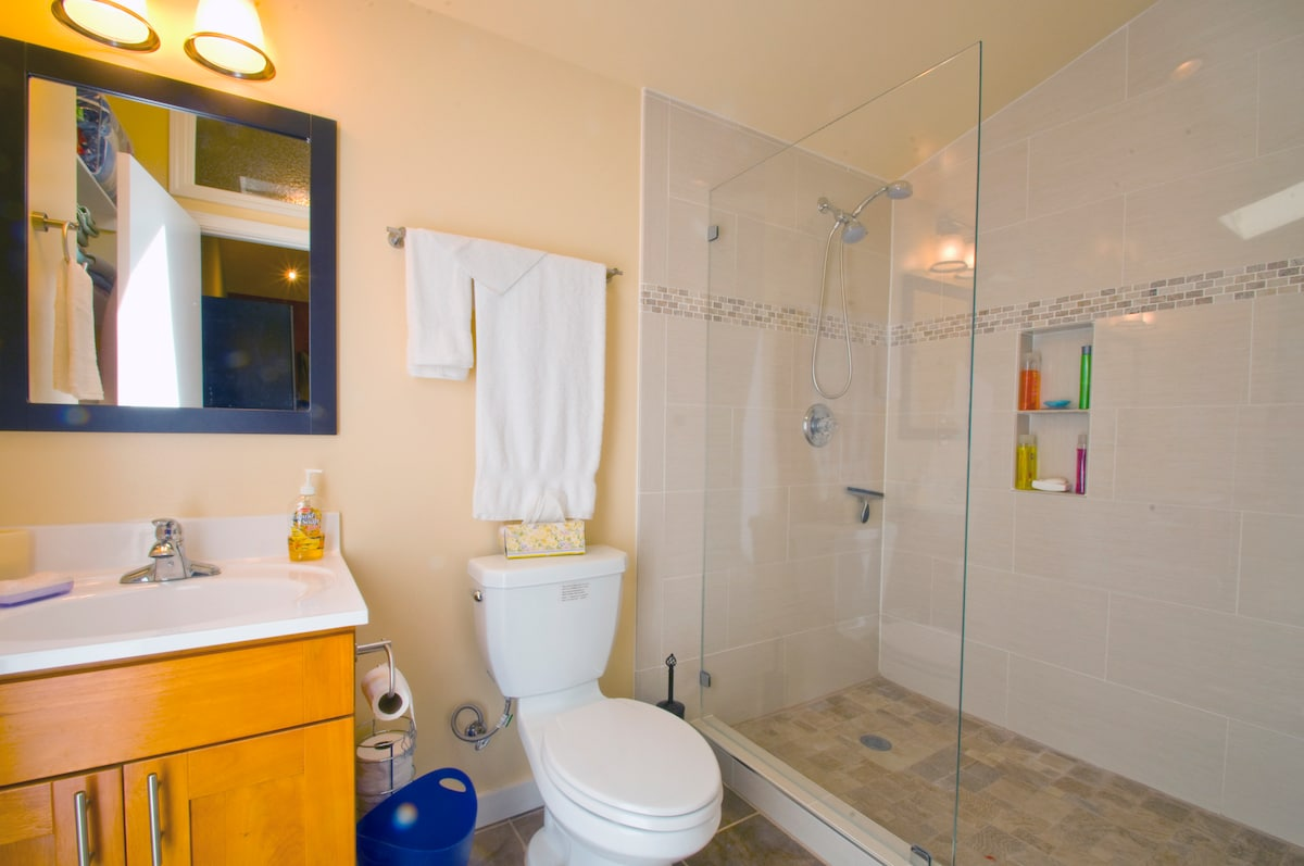 bath room with skylight, large walkin shower with dual shower heads, separate heater in bathroom, plenty of extra towels for river or pool
