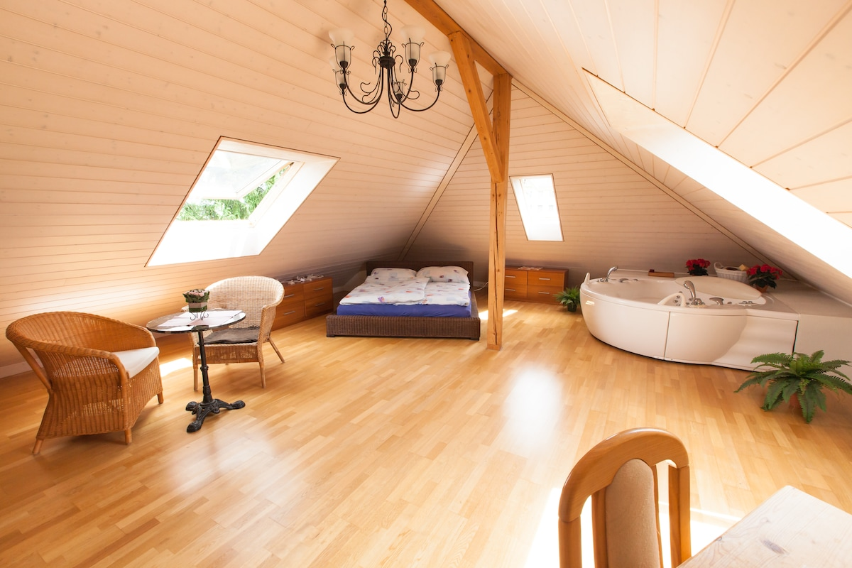 Romantic, luxury Suite w. Jacuzzi