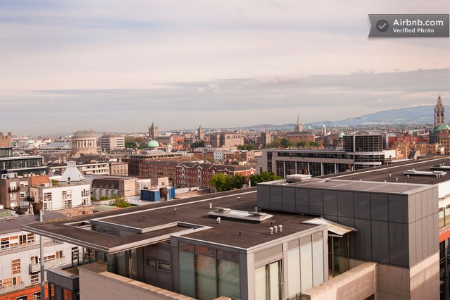 view over four courts and temple bar - towards the wicklow mountains in the distance