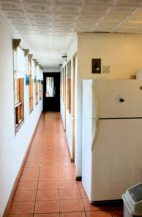 Hallway to Kitchen 2; Rooms 1, 2, 3, 4, 5; and shared bathroom 2