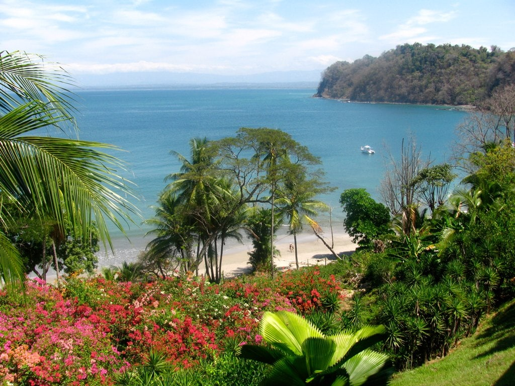 This is another view of Playa Mantas and its beautiful bougenvilla.