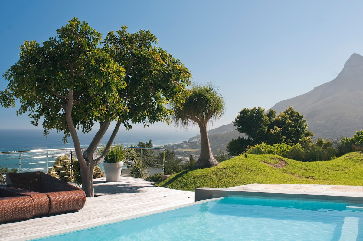 Magnificent pool deck with views to the Camps Bay Beach
