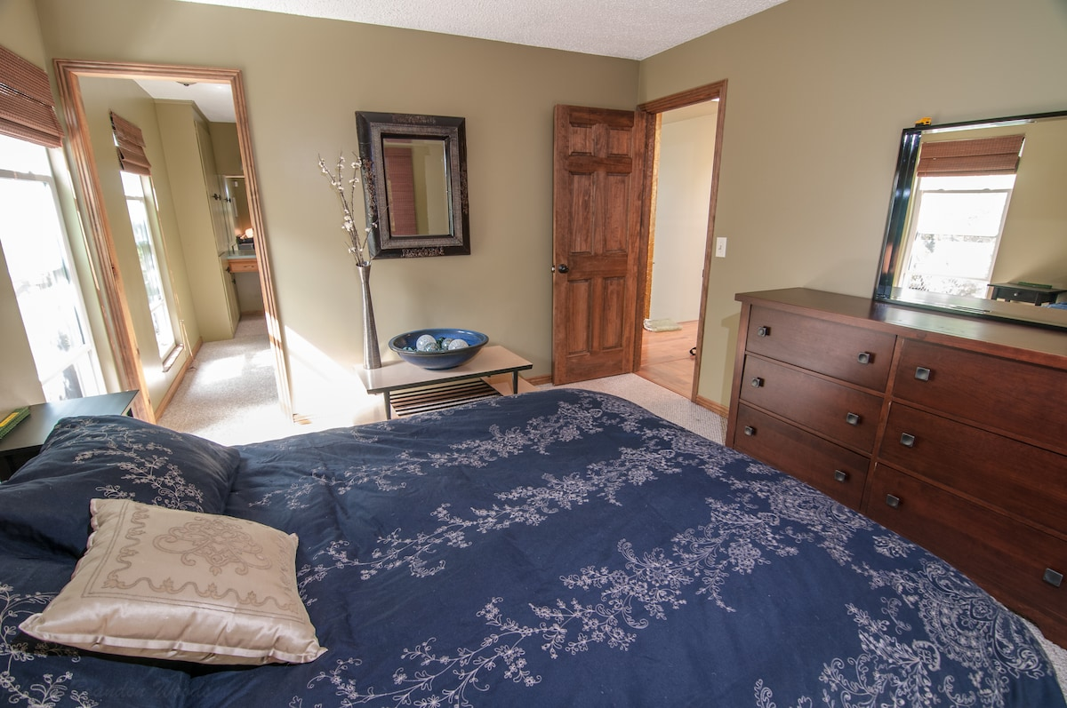 Master bedroom with private walk-in closet, and master bathroom.