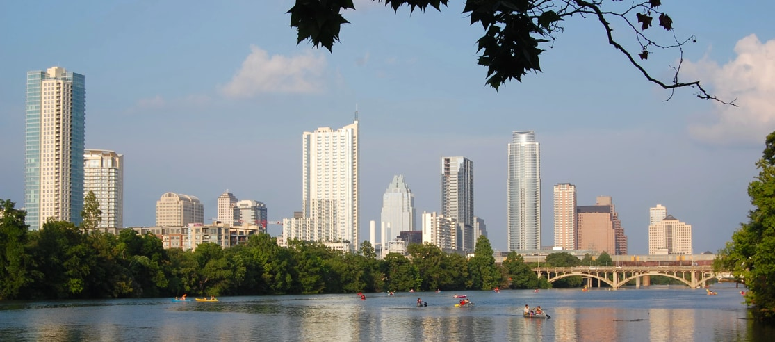 Lady Bird Lake and downtown, view from South shore (10 min walk from Kerr Street).