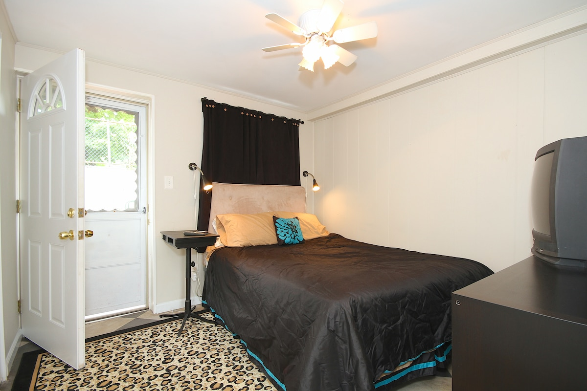 Private Bedroom on first floor of 3 floor townhouse. There is a door to backyard also