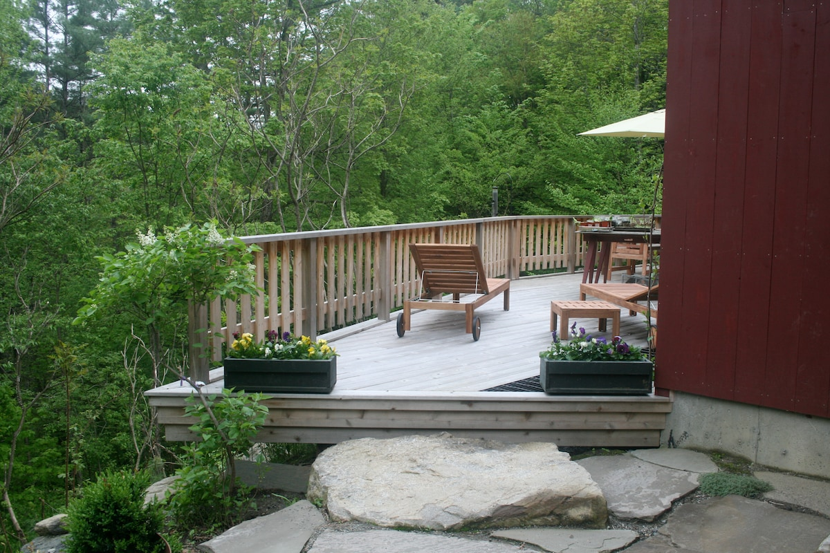 South facing deck overlooking 2 streams converging--from back stone patio