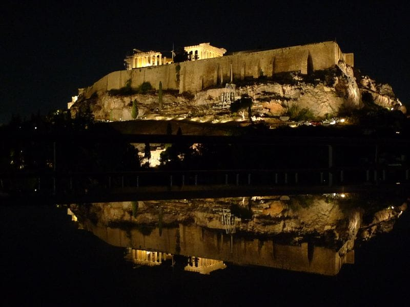 Superb night view of the Parthenon from our veranda.Yes! It is opposite the Acropolis!