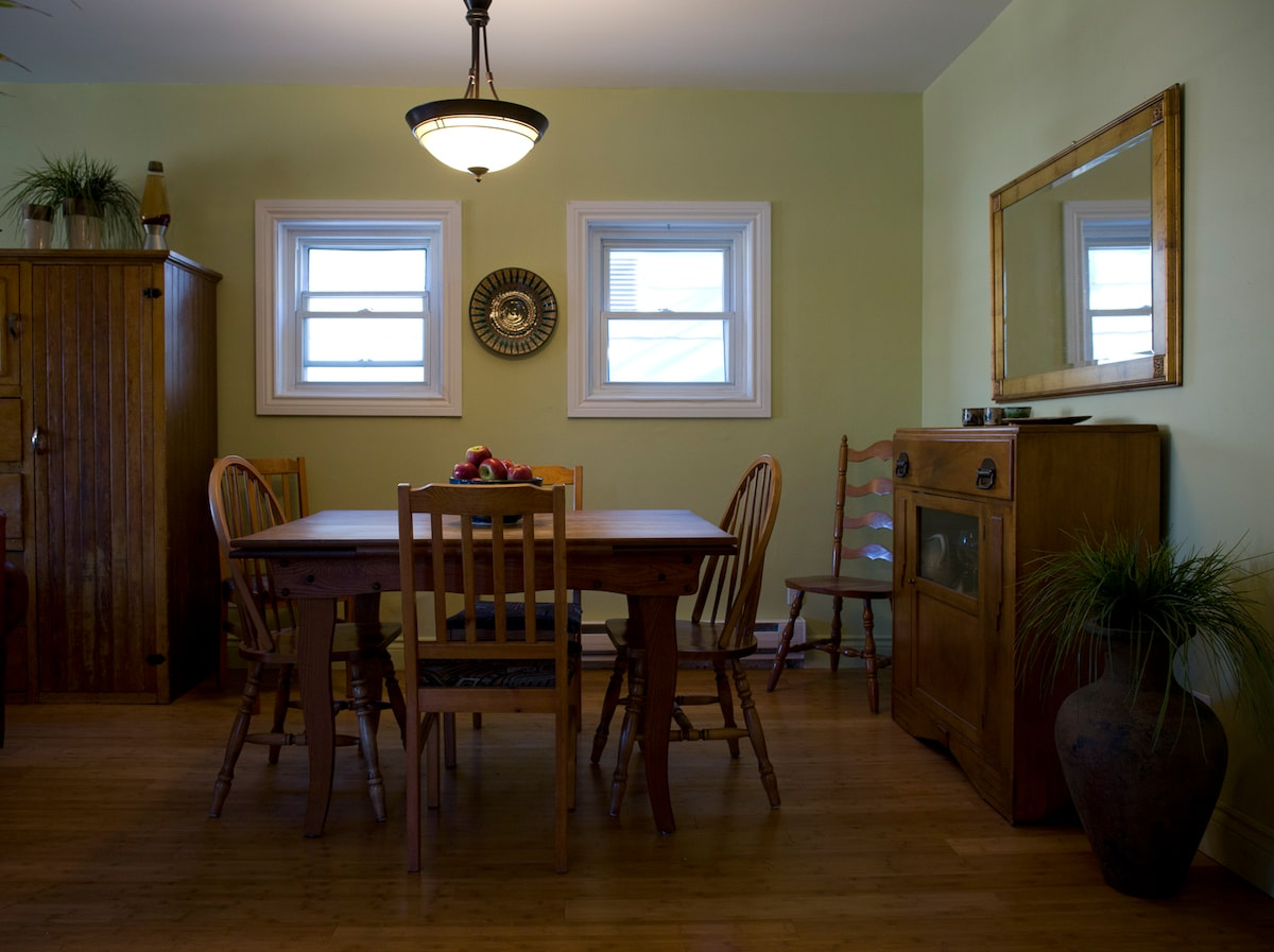 Dining room table extends to seat 6 comfortably