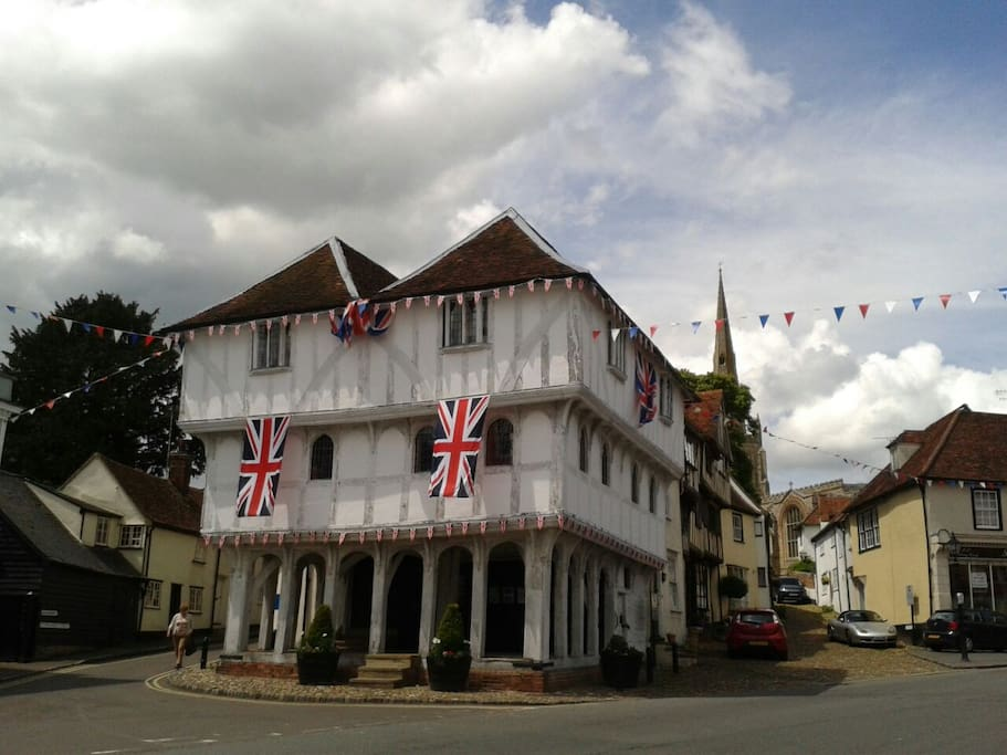 Thaxted Guildhall in summer bunting