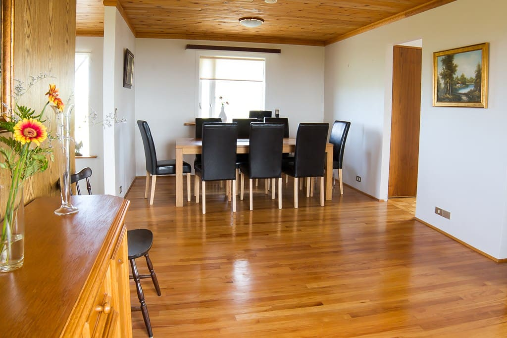 Dining room with a large table and 8 chairs and walked straight into the kitchen.