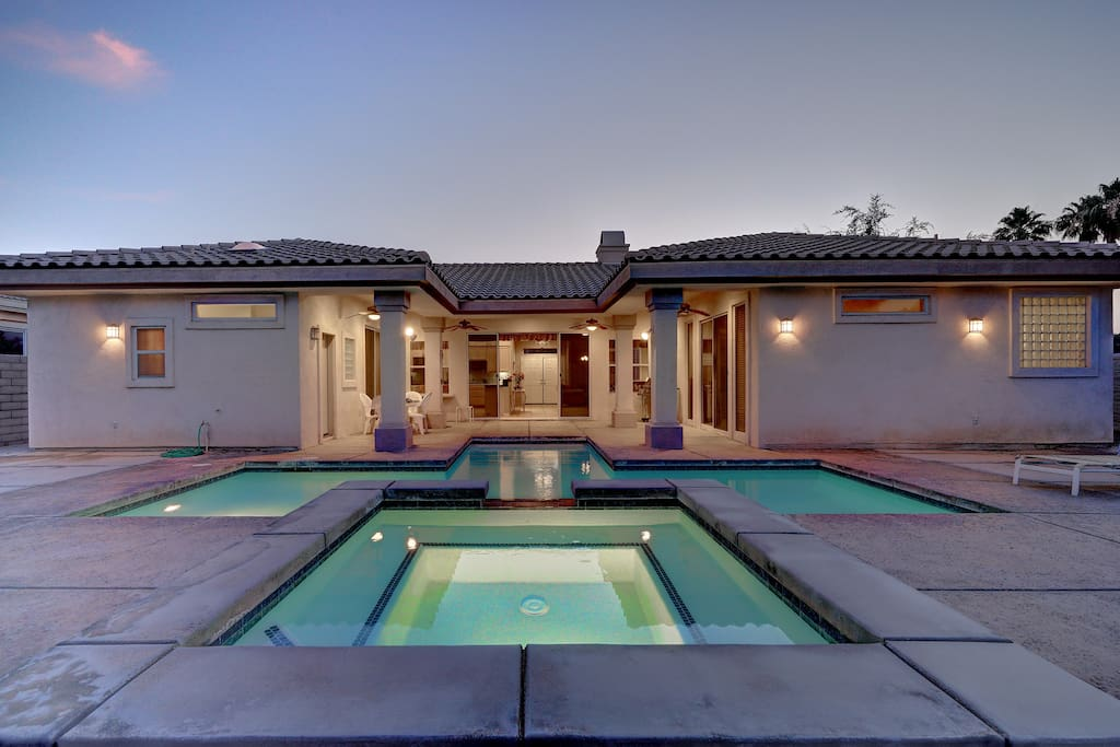 Covered patio and pool area