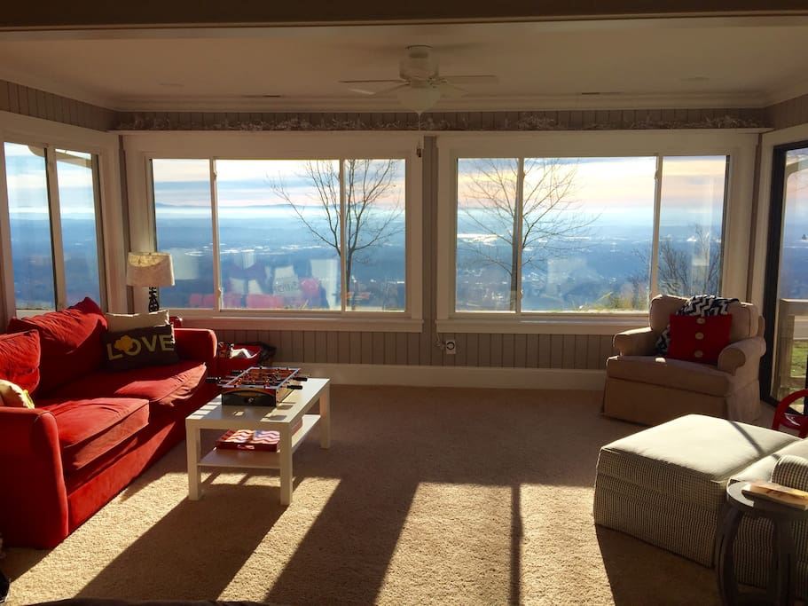 You'll probably spend most of your time here.  Its a comfy room with a beautiful view day or night