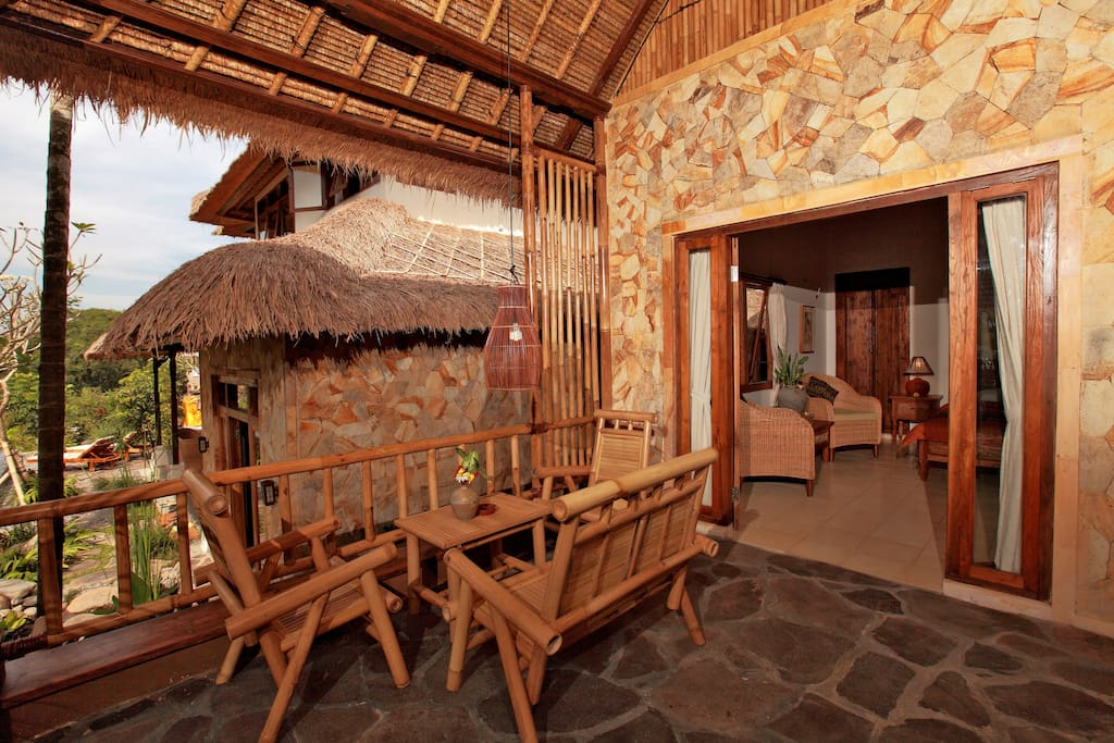 Your own private verandah overlooking the pool and Mt Agung beyond