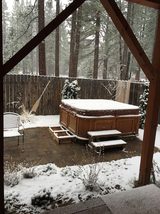 The hot tub has a cover so you can use it year round